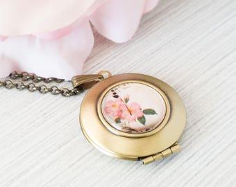 Flower Locket Necklace, Brass Locket Pendant, Bridesmaid Gift