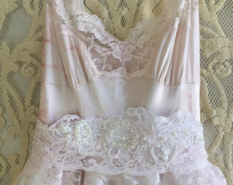 dusty pink & soft white layered embroidered lace boho wedding dress by mermaid miss Kristin