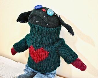 Sock Animal Puppy, Sweater with Heart, Unique Stuffed Animal, made with all reclaimed clothing, one of a kind, hand-stitched