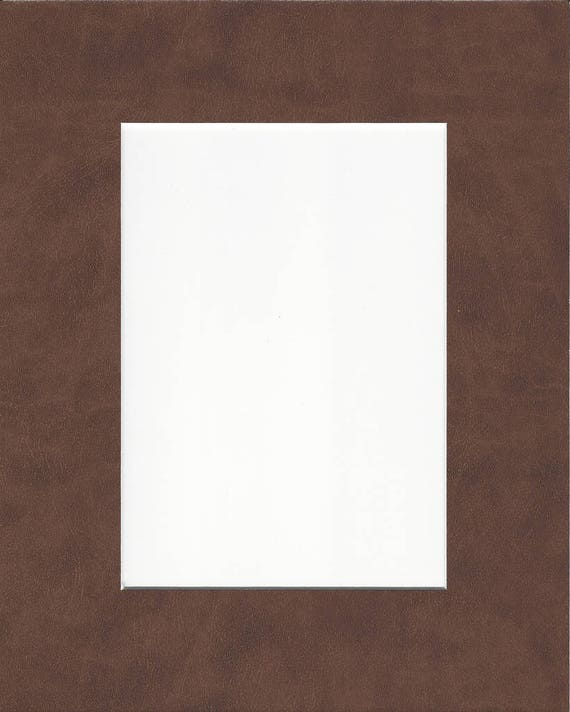 Pack Of 5 18x24 Saddle Brown Leather Picture Mats With White