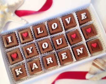 I Love You Chocolate Message - Personalized Love Chocolates - Miss You Chocolates - Girlfriend Gift - Boyfriend Gift - Love Candy