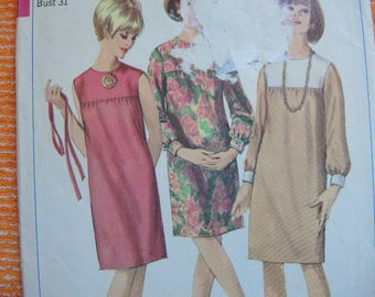 vintage 1960s Simplicity sewing pattern 6578 misses one piece collarless dress size 10