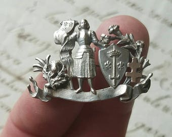 Exquisite Antique French Art-Nouveau Silver Joan of Arc /Jeanne D'Arc Pin Brooch-superb Detail throughout-Rare Piece