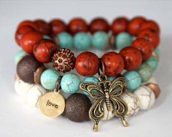 Sale on Boho Chic Butterfly and Love Charm Stretch Beaded Bracelets, Turquoise and Howlite Stretch Bracelets, Fall Jewelry