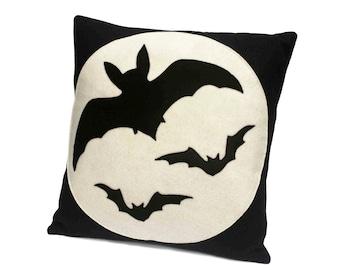 Bats Eco Felt Throw Pillow Cover 18 inches