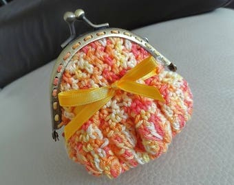 Crocheted yellow and orange, small leather coin holder.