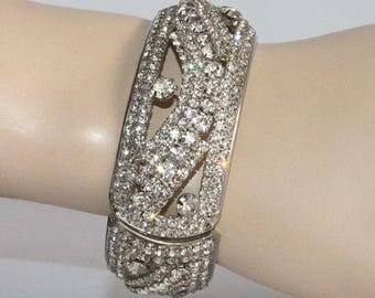 Vintage Wide Rhinestone Clamper Bangle Hinged Bracelet 1950s Costume Jewelry