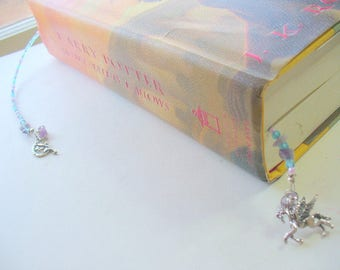 Blue, Purple Beaded Bookmark, Book Thong, Flying Horse Bookmark, Moon, Fairy Bookmark, Book Lover, Book Jewelry, Amethyst Gemstone, Pegasus