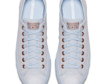 Baby Blue Converse Rose Gold Blush Pink Wedding Suede Leather Low Top Chuck Taylor w/ Swarovski Crystal Rhinestone All Star Sneaker Shoes