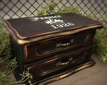 Vintage Jewelry Box, Upcycled Jewelry Box, Painted Jewelry Box