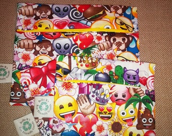 you pick, set of 3 , 2 reusable snack bags, 1 sandwich bag, emoji movie, reusable goods, eco friendly, snack bags, sandwich bag, emoji