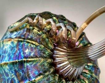 Beatiful metallic swirl Jack Pine glass tilted pumpkin