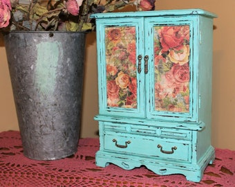 Large Upcycled Vintage Wood Jewelry Box/Armoire/Music Box,  Hand Painted in Santa Fe Turquoise, Rose Paper Doors, Chippy and Distressed