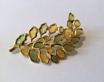 Vintage Leaf Brooch Pin Green and Gold