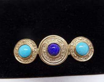 Fabulous Vintage Etruscan Inspired Blue Cabochon Bar Brooch!