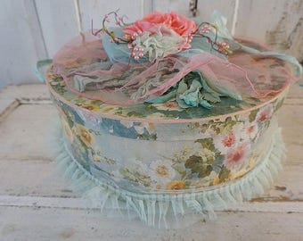 Large floral hat box soft shabby cottage chic dreamy watercolor style garland tattered embellishments storage organizer anita spero design
