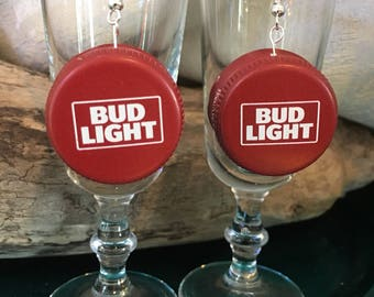 Bud Light Brewing Beer Cap Earrings Bottle Crown Dangle OOAK Large Beerings Burgundy