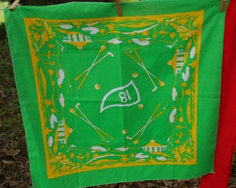 "Vintage bandana 1980s golfing Hole 18 green yellow white polka dot 22"" x 22""  hair accessory"