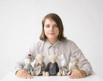 Wholesale Set of 5 Stuffed Animals: 2 Teddy Bears 9 Inches, 2 Teddy Bears 7 Inches, 1 Rabbit 7 Inches, Handmade Toys, Artist Teddy Bears