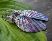 Custom for Anne G. Hosta Purpurea - wearable art polymer clay purple lampwork hosta leaf rustic leaf earrings.