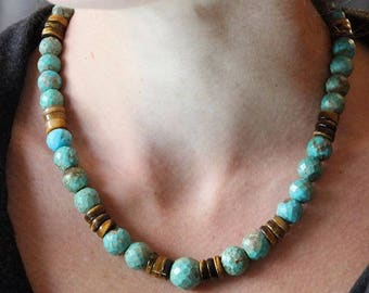 Faceted natural Turquoise necklace, Tiger eye stones and 925 sterling silver