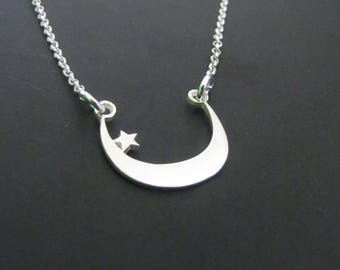 Moon and Star Necklace, Sterling Silver Necklace, Charm Necklace, Jewelry, Gift for her