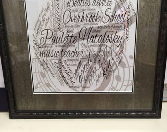Custom Word Art Print With Photograph:Teacher, School Counselor, Retirement, Thank You, Educator (UNFRAMED)
