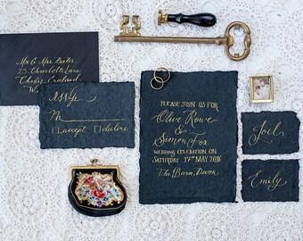 handmade paper torn edges Custom watercolour invitations  l  bespoke design wedding stationery  l  modern calligraphy  l  save the date