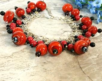 Chunky Bracelet, Cluster Bracelet, Beaded Bracelet, Statement Bracelet, Boho Bracelet, Charm Bracelet, Frog Charms, Birthday Gift