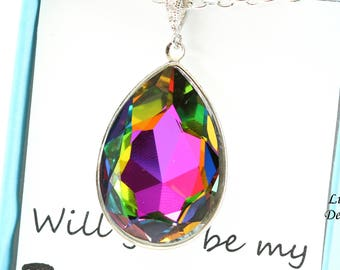 Layering Necklace Colorful Necklace Teardrop Crystal Bridesmaid Gift Swarovski Crystal Statement Necklace Teardrop Necklace Unique VM42N