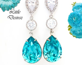 Turquoise Earrings Bridal Earrings Bridesmaid Earrings Wedding Jewelry Gift For Her Something Blue Gift For Bestfriend Long Earrings TQ31PC