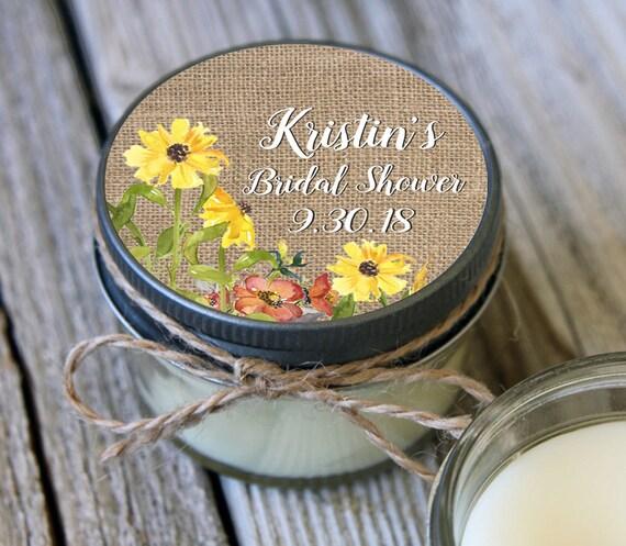 Set of 12 - 4 oz Soy Candle Bridal Shower Favors - Burlap and Sunflower Label Design - Rustic Bridal Shower Favors, Sunflower Wedding Favors