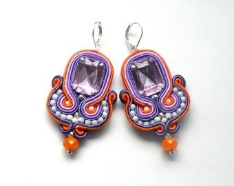 Soutache Earrings, Handmade Earrings, Hand Embroidered, Soutache Jewelry, Handmade from Poland, OOAK-Orange