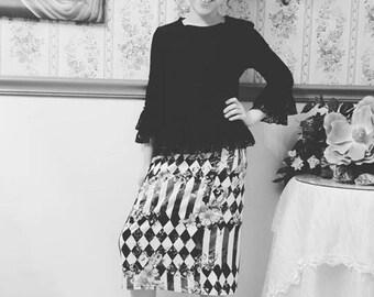 Girls Black and White Collection Knit Pencil Skirts~ Modest Girls Skirt, Toddler Girls, Big Girls, Tween Girls, Teen Girls ~ Made to order