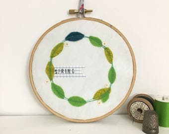 spring wreath hoop art - embroidered wreath - textile art - felt wall art - green leaves and white blossom - birthday gift - home décor