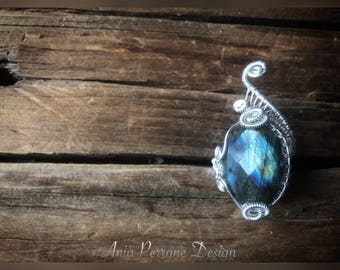 15% OFF SALE Blue Labradorite Ring Sterling Silver Wire Wrapped Adjustable Wrap Ring