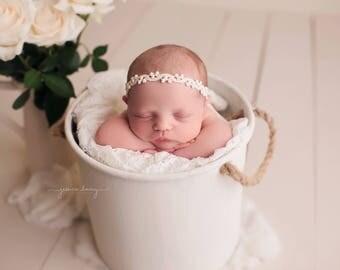 Gabby Headband, Organic Woven Headband, Baby Photo Prop, Cream Linen Halo, Natural Newborn Headband, Newborn Photography Prop, RTS