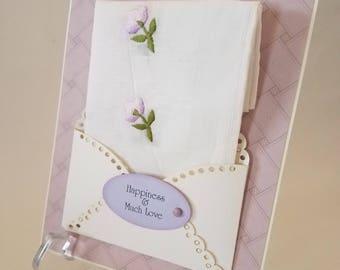 Vintage Embroidered Hankie Card Lavender Friend Autumn Wedding Hanky Happy Tears Congratulations Bridal Accessory Keepsake Handkerchief