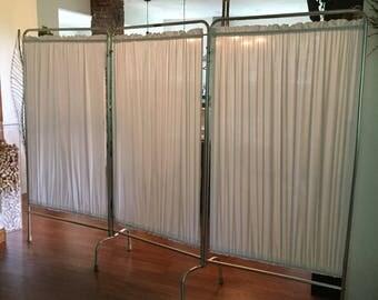 Antique Hospital Room Divider Screeen Medical Supply Room Divider Privacy Screen Aluminum Folding Screen