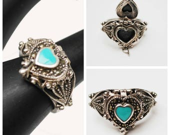 Heart Poison Box  Ring - Sterling Silver Turquoise inlay  -  Pyrite Marcasite - size 7 - silver filigree - locket ring