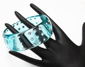Aqua  Lucite Bracelet -clear Rhinestone - blue green translucent vintage plastic Bangle