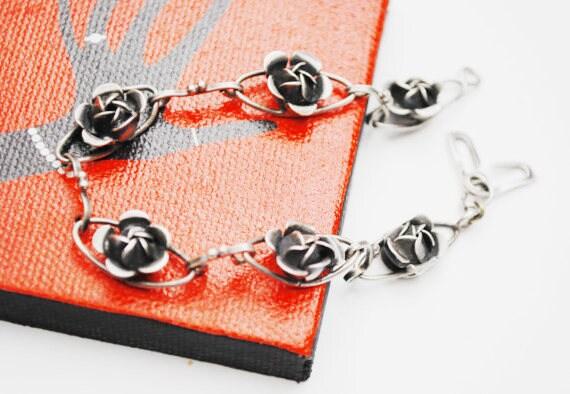 Sterling Flower Repousse Link Bracelet - Signed  Augello Bros - Vintage Art Nouveau  silver rose bud