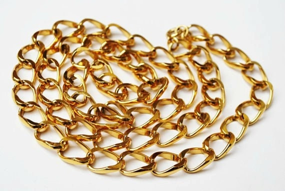Vintage Chunky Gold  Chain link - necklace - Mid century  30 inches