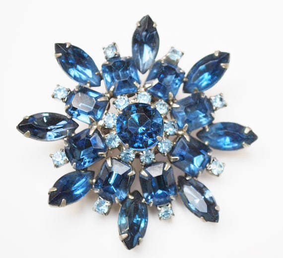 Blue Rhinestone Flower Brooch  - Mid Century - silver metal - blue crystal - 2 1/4 inch - Atomic Pin