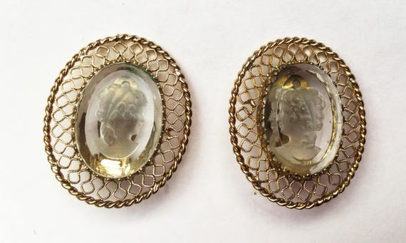 Intaglio Cameo Earrings - Carved clear glass - Signed Whiting and Davis - Gold Filigree - Clip on earrings