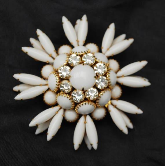 White Milk Glass Flower Brooch  - Atomic Pin - Snow Fake - Clear rhinestone - Mid Century