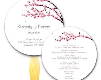 Summer Sale Cherry Blossom Wedding Ceremony Program Fan - Hand Fan, Pink and White, Rustic Weddings, Paper Fan, Flowers