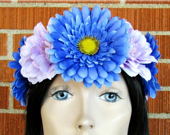Blue & Purple Flower Crown, Floral Crown, Flower Halo, Flower Headband, Floral Headband, Adult Flower Crown, Kids Flower Crown, Wedding
