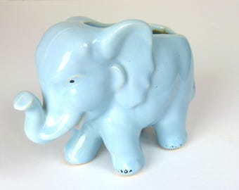 Vintage 50s Blue Ceramic Elephant Planter - It's A BOY!