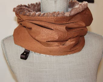 Suedine rust snood, rust scarf, Gift for her